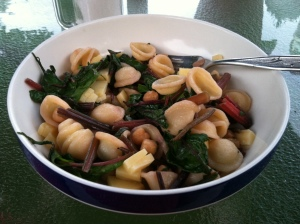 Oriechiette with chard, chickpeas, and smoked gouda
